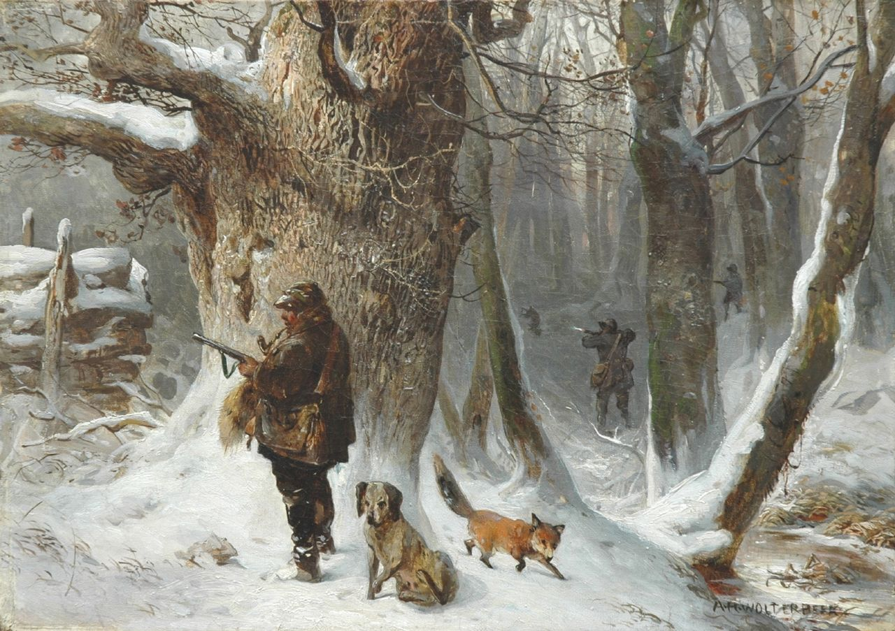 Anna Wolterbeek | Huntsmen in a winter landscape, oil on canvas, 29.9 x 42.1 cm, signed l.r. and on the reverse