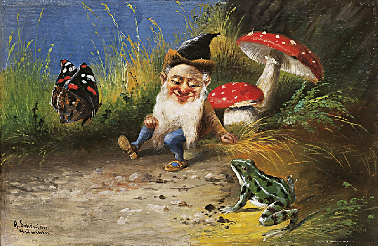 Alfred Schönian | A gnome and a frog, oil on panel, 15.7 x 23.9 cm, signed l.l.