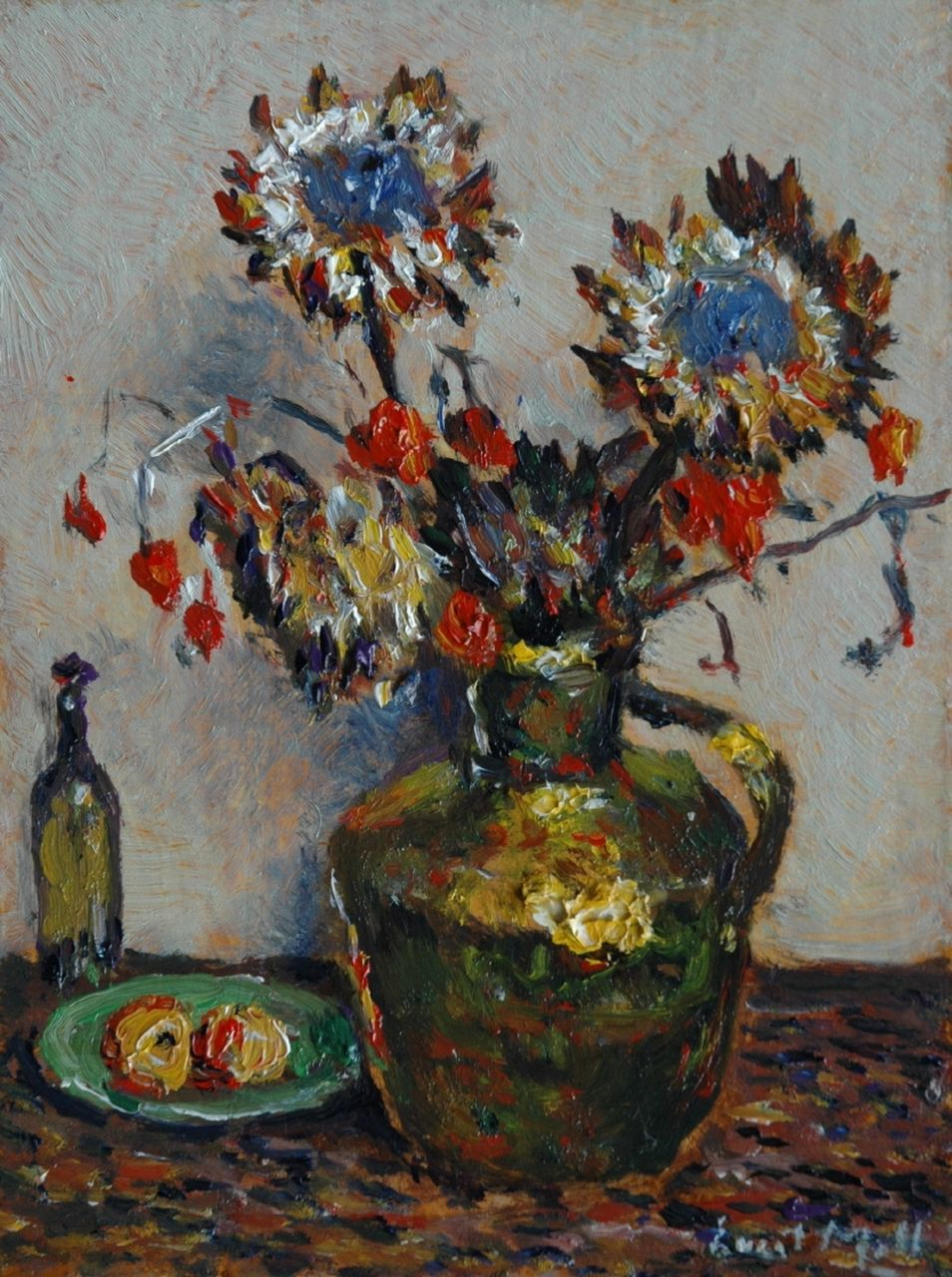 Moll E.  | Evert Moll, Flowers in a copper milk can, oil on panel 23.6 x 17.7 cm, signed l.r.