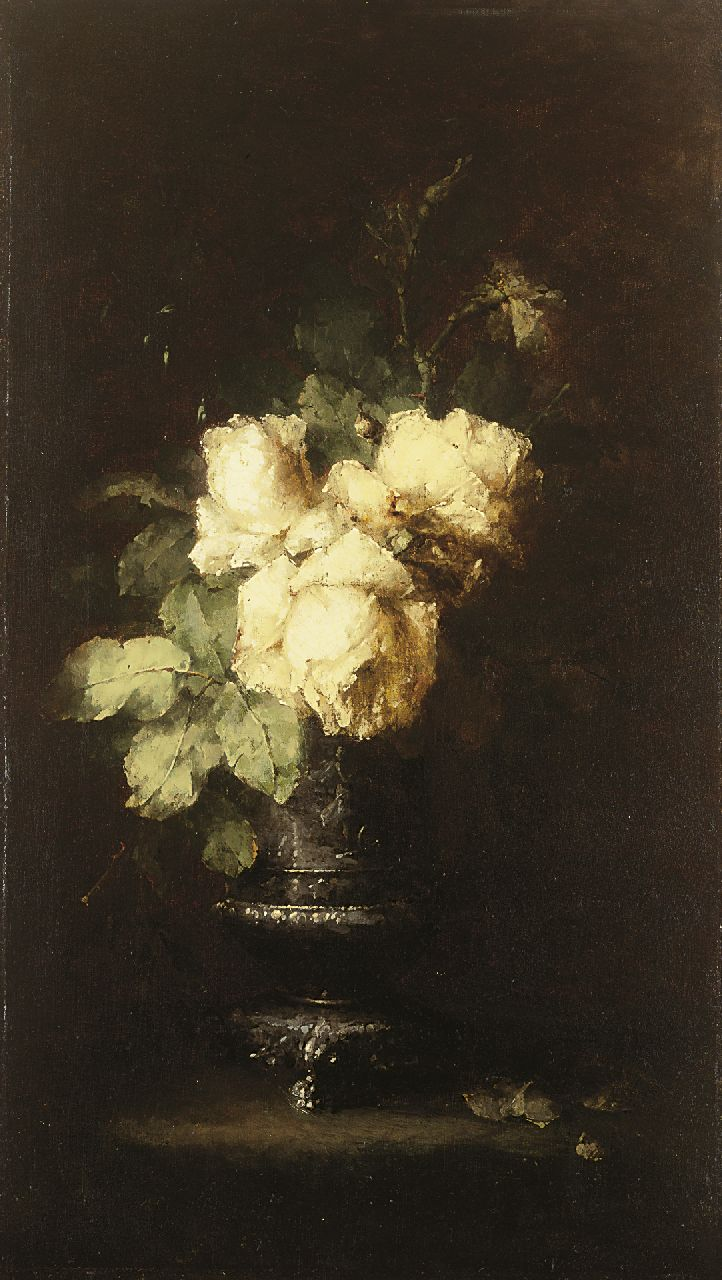 Roosenboom M.C.J.W.H.  | 'Margaretha' Cornelia Johanna Wilhelmina Henriëtta Roosenboom, White roses, oil on canvas 70.0 x 40.0 cm, signed l.r.
