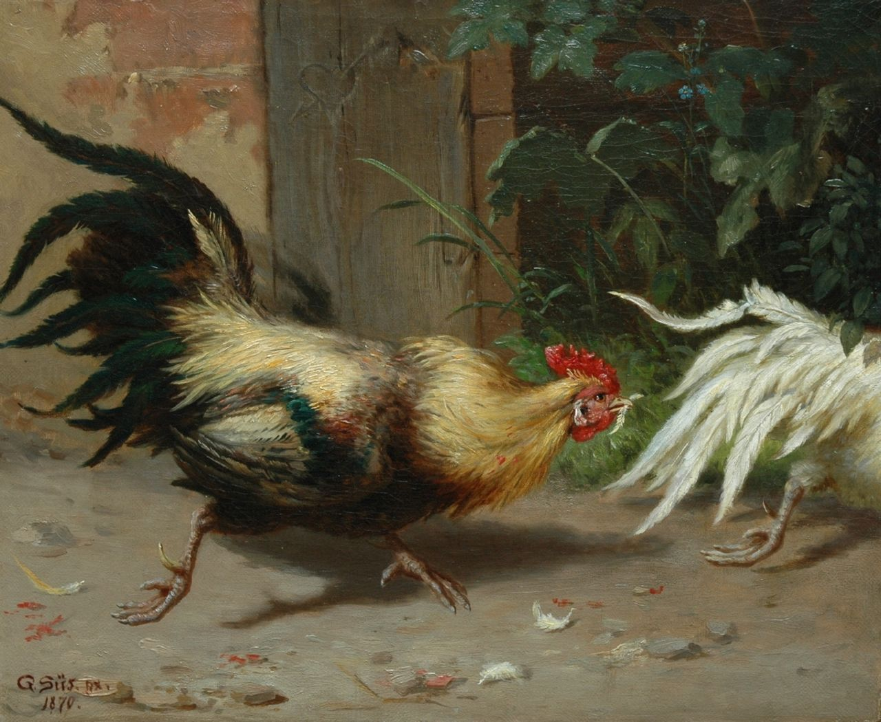 Gustav Süs | Cockfight, oil on canvas, 28.1 x 34.3 cm, signed l.l. and dated 1870