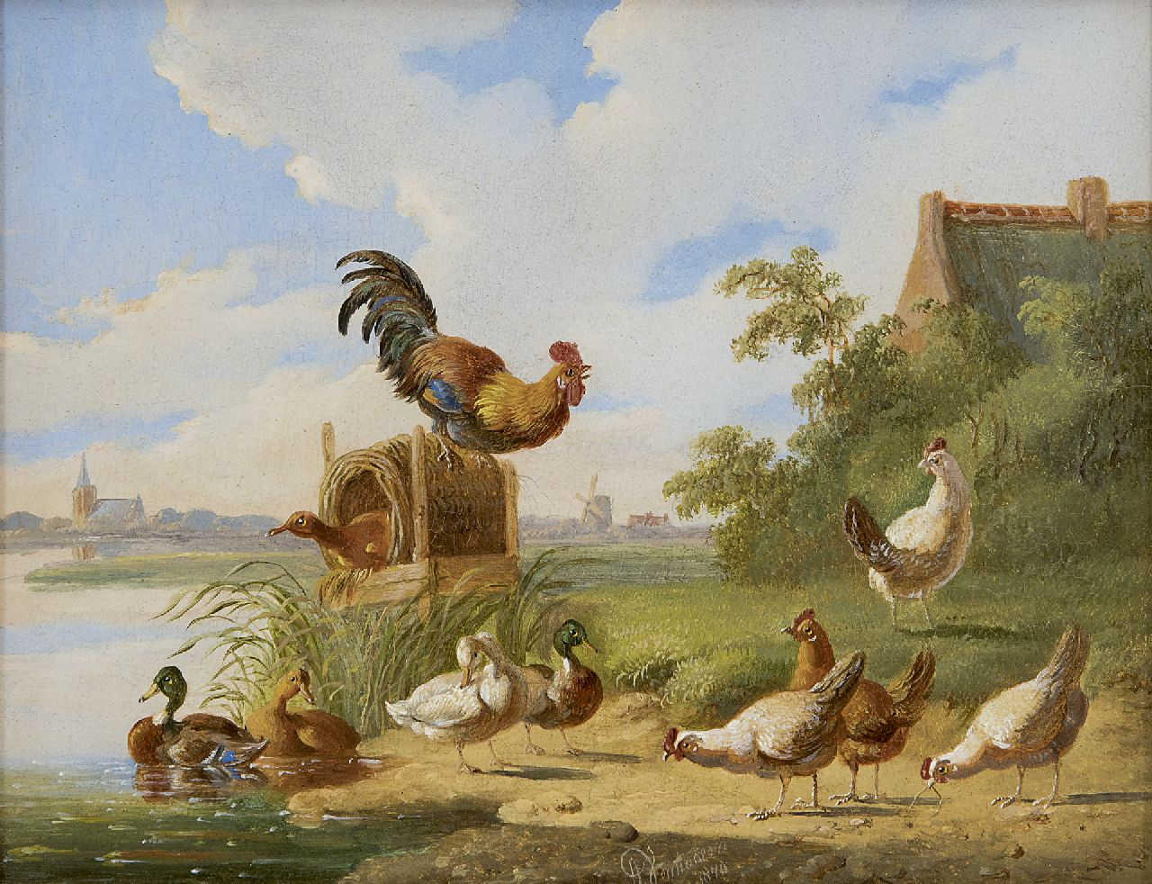 Verhoesen A.  | Albertus Verhoesen | Paintings offered for sale | A cock, chicken and ducks on a riverbank, oil on panel 14.7 x 18.7 cm, signed l.c. and dated 1870