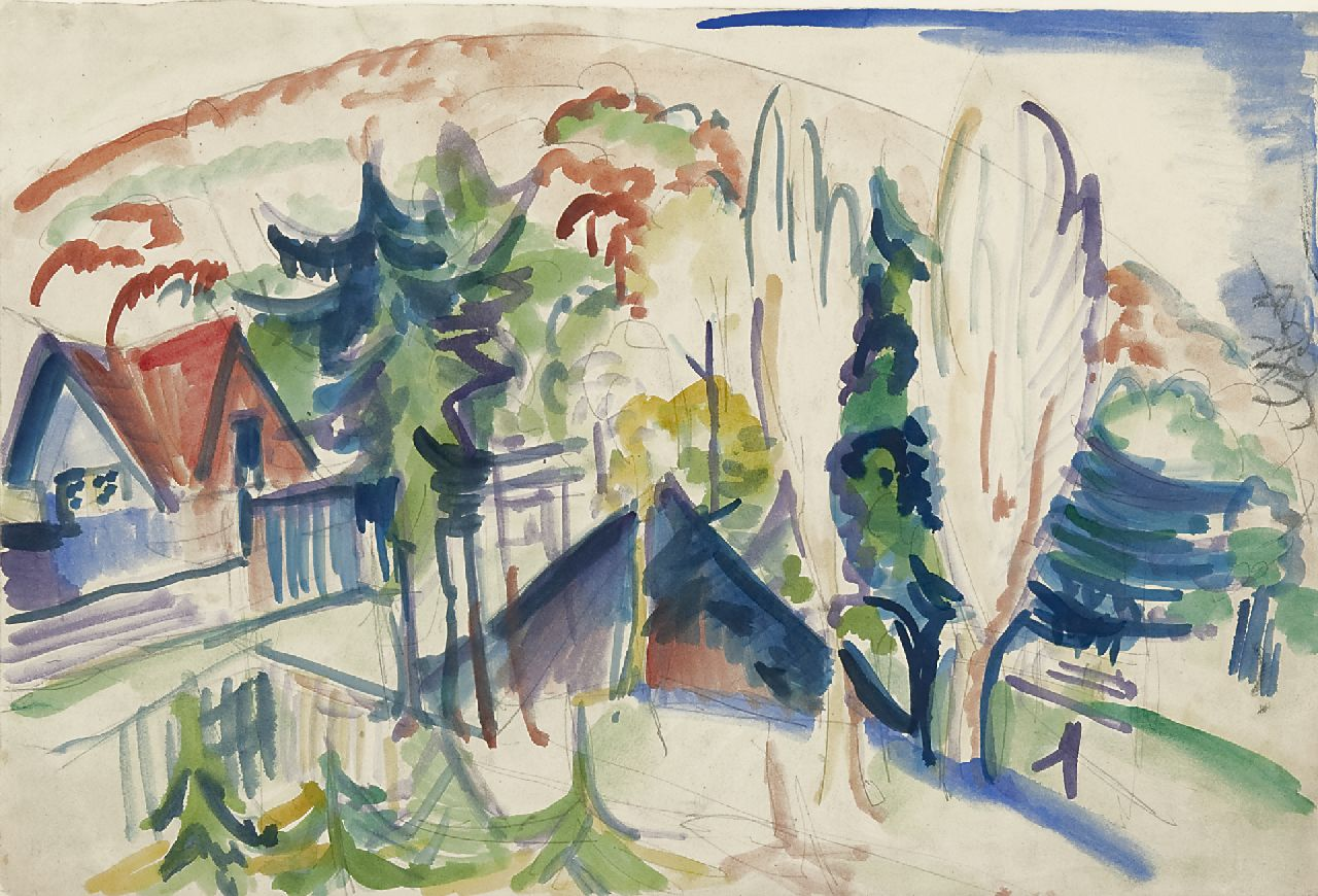 Kirchner E.L.  | Ernst Ludwig Kirchner, A village in the Taunus mountains, Germany, pencil, chalk and watercolour on paper 38.3 x 56.6 cm, painted 1916