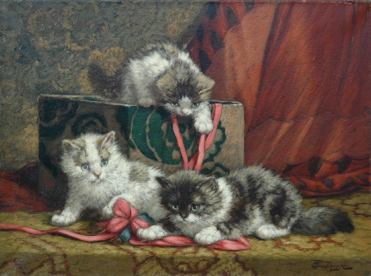 Raaphorst C.  | Cornelis Raaphorst, Three playing kittens and a box of ribbons, oil on canvas 29.8 x 40.0 cm, signed l.r.