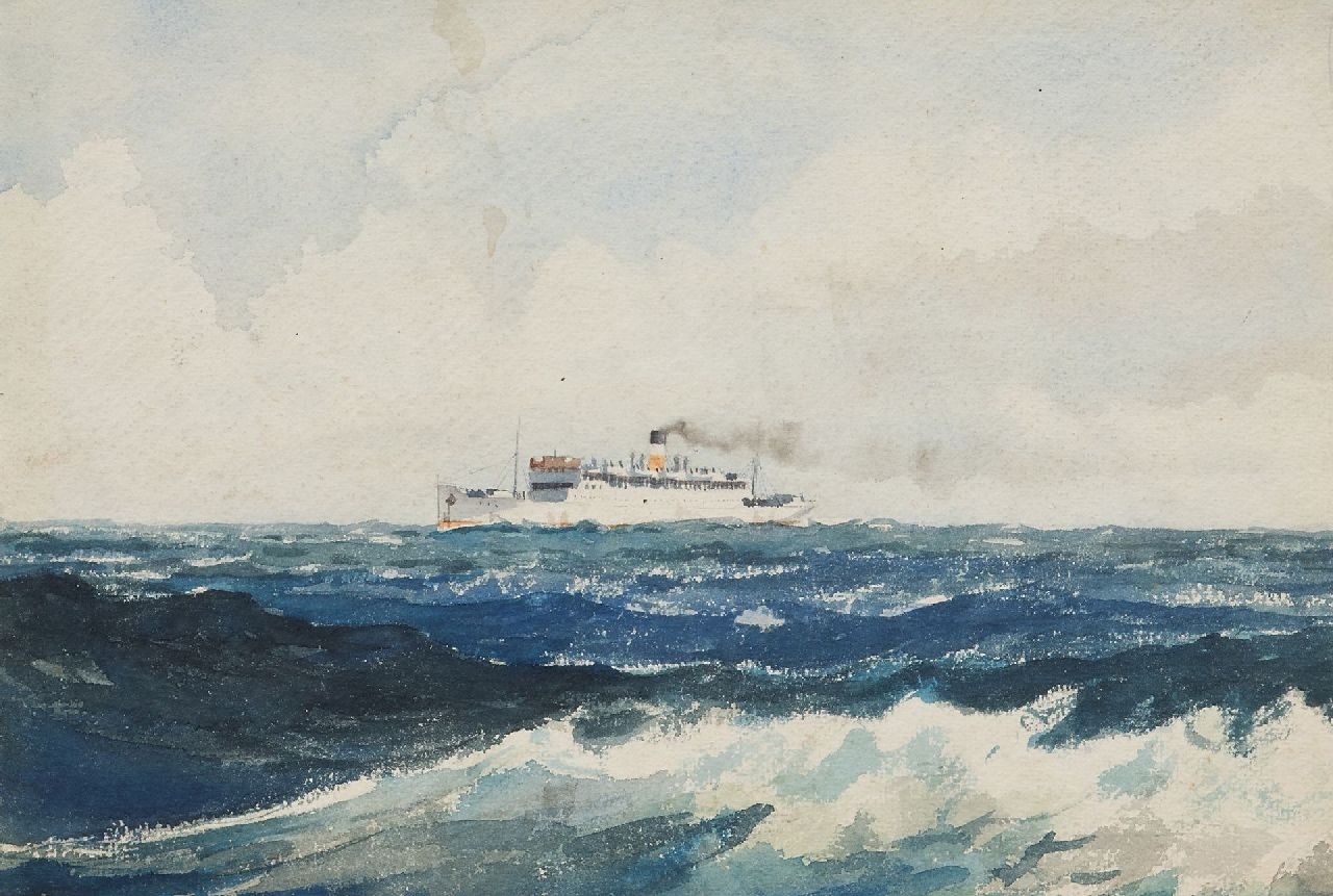 Back R.T.  | Robert Trenaman Back | Watercolours and other works on paper offered for sale | The steamer Lord Nelson at open sea, watercolour on paper 24.4 x 35.6 cm, signed l.r. and dated 1939