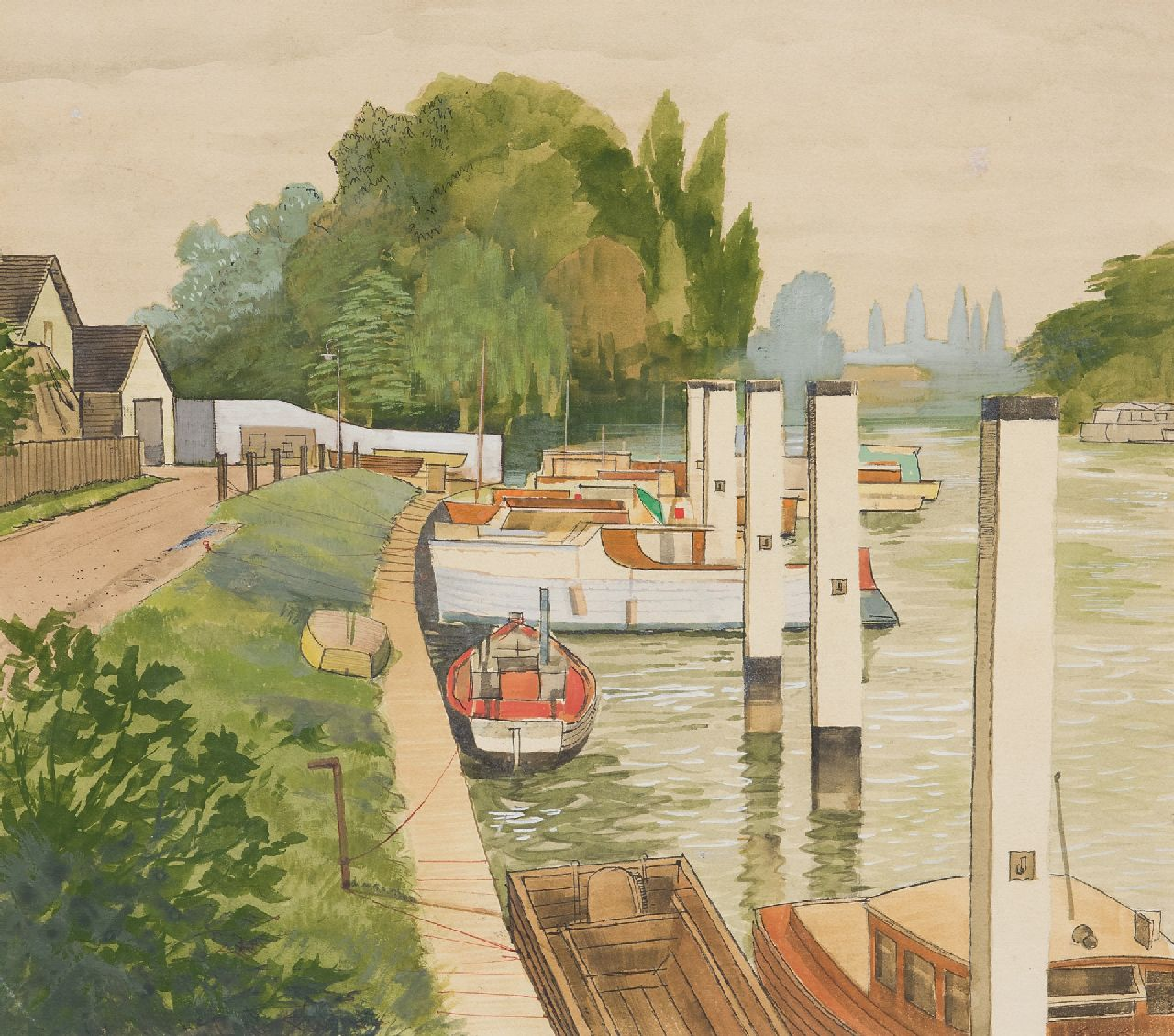 Back R.T.  | Robert Trenaman Back | Watercolours and drawings offered for sale | The 'Shepperton Lock' in the river Thames, watercolour on board 35.4 x 39.9 cm, signed l.r.