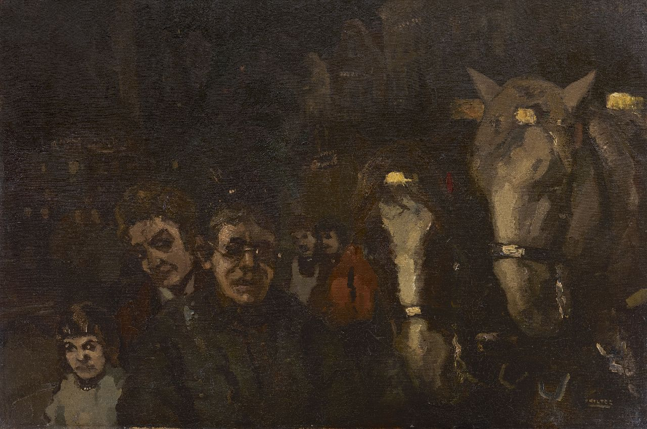 Noltee B.C.  | Bernardus Cornelis 'Cor' Noltee | Paintings offered for sale | Figures and coach horses by night, oil on canvas 60.7 x 90.7 cm, signed l.r.
