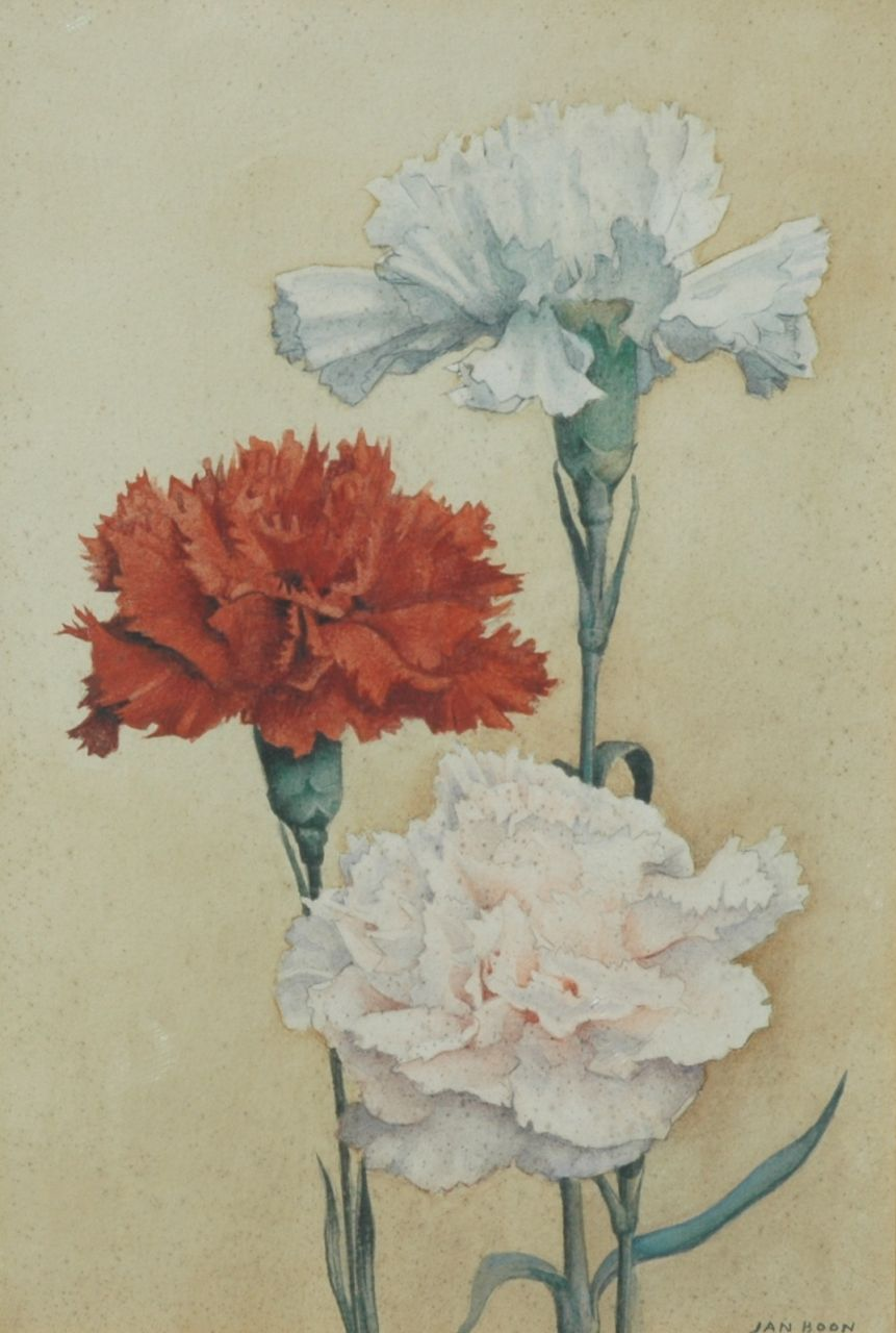 Boon J.  | Jan Boon, Carnations, pencil and watercolour on paper 17.2 x 24.9 cm, signed l.r.