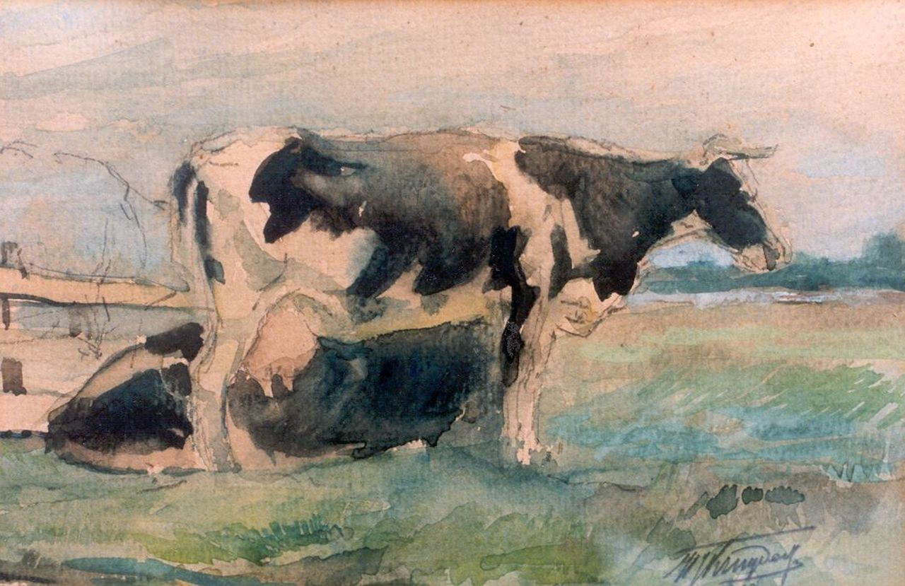 Kruyder H.J.  | 'Herman' Justus Kruyder, Cows in a meadow, watercolour on paper 14.0 x 21.0 cm, signed l.r.