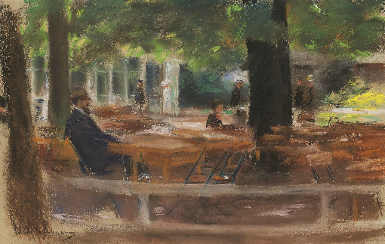 Max Liebermann | The terrace of Hotel Hamdorff, Laren, pastel on paper, 31.3 x 48.5 cm, signed l.l. and painted circa 1903