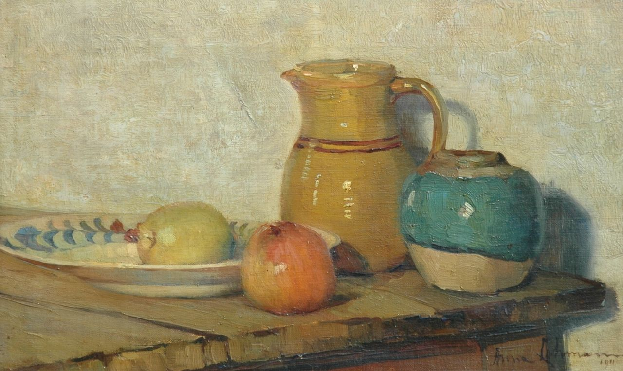 Lehmann A.E.F.  | 'Anna' Elisabeth Frederika Lehmann, A still life with apples and a jug, oil on canvas 24.4 x 39.4 cm, signed l.r. and on the stretcher and dated 1911
