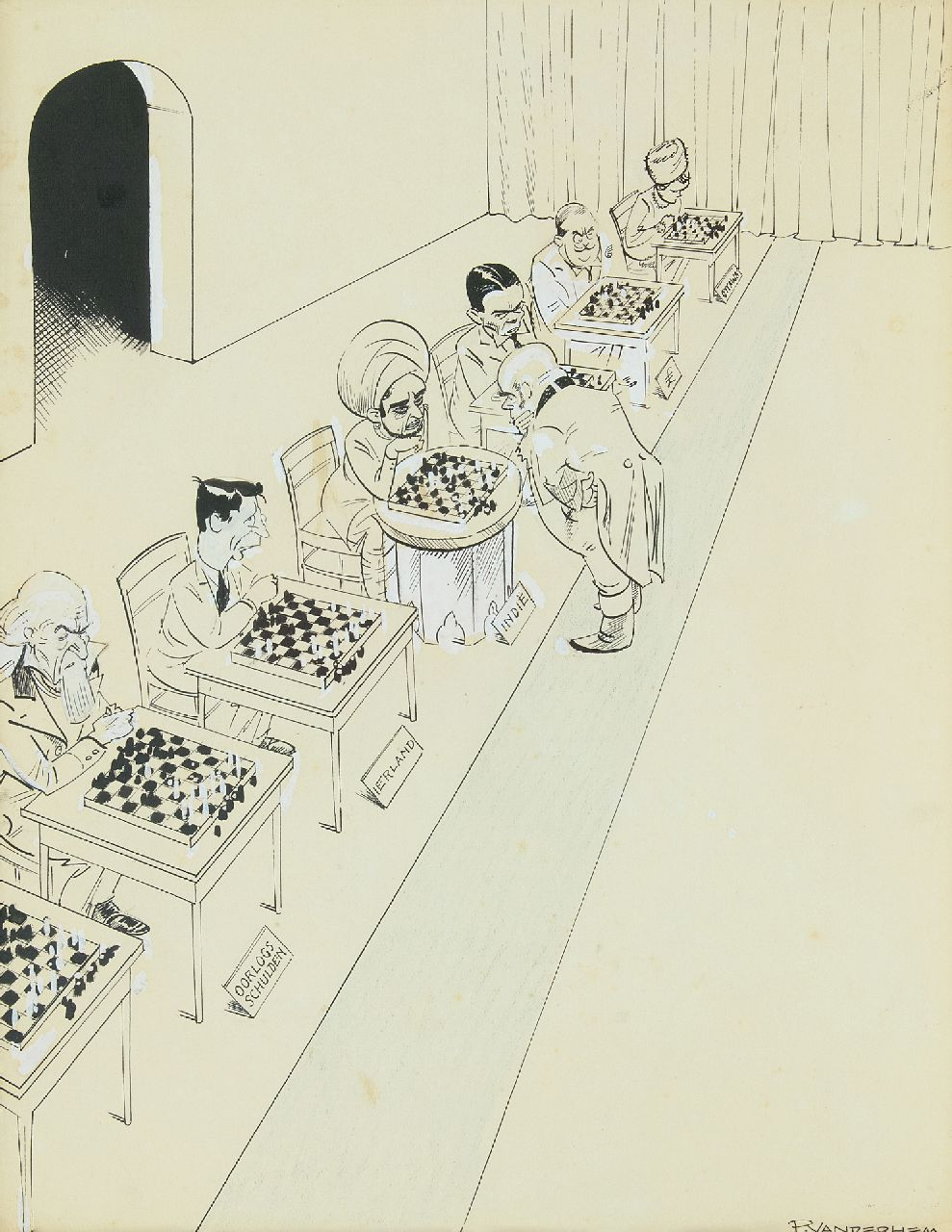 Hem P. van der | Pieter 'Piet' van der Hem | Watercolours and drawings offered for sale | John Bull playing simultaneous chess, pen and brush, ink and gouache on paper 45.0 x 35.5 cm, signed l.r.