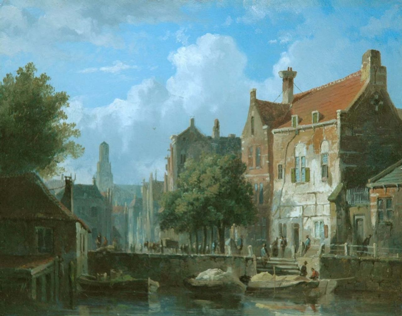 Eversen A.  | Adrianus Eversen, Moored boats in a canal, oil on panel 16.6 x 21.0 cm