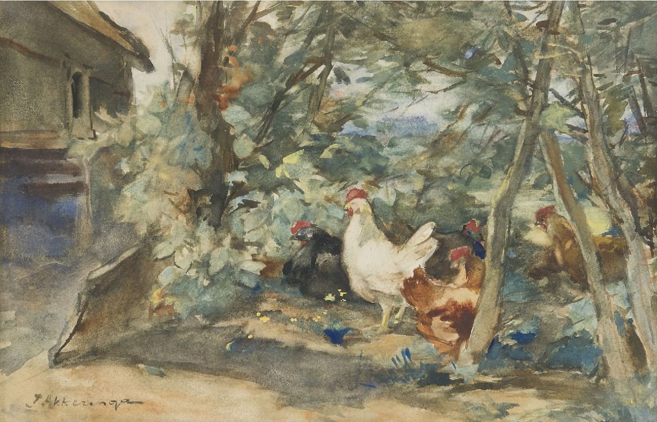 Akkeringa J.E.H.  | 'Johannes Evert' Hendrik Akkeringa | Watercolours and other works on paper offered for sale | Chickens on a farmyard, watercolour on paper 18.7 x 29.3 cm, signed l.l.