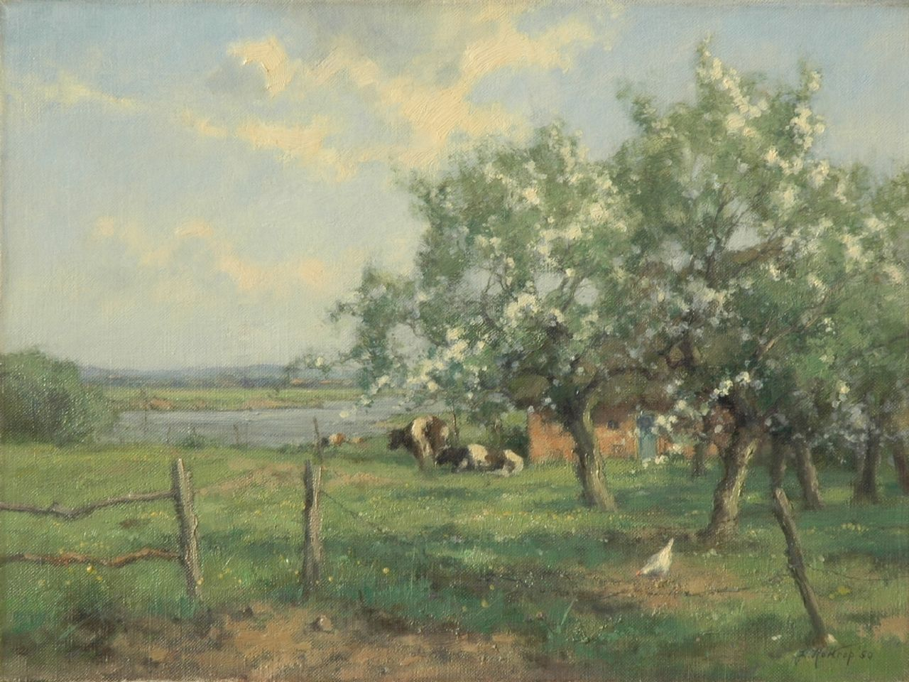 Holtrup J.  | Jan Holtrup, Spring, oil on canvas 30.3 x 40.3 cm, signed l.r. and dated '50