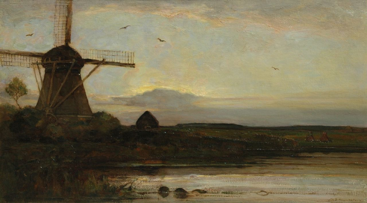Mondriaan P.C.  | Pieter Cornelis 'Piet' Mondriaan, The river Gein with the Oostzijdse Molen by sunset, oil on canvas 75.2 x 132.4 cm, signed l.r. and painted circa 1907