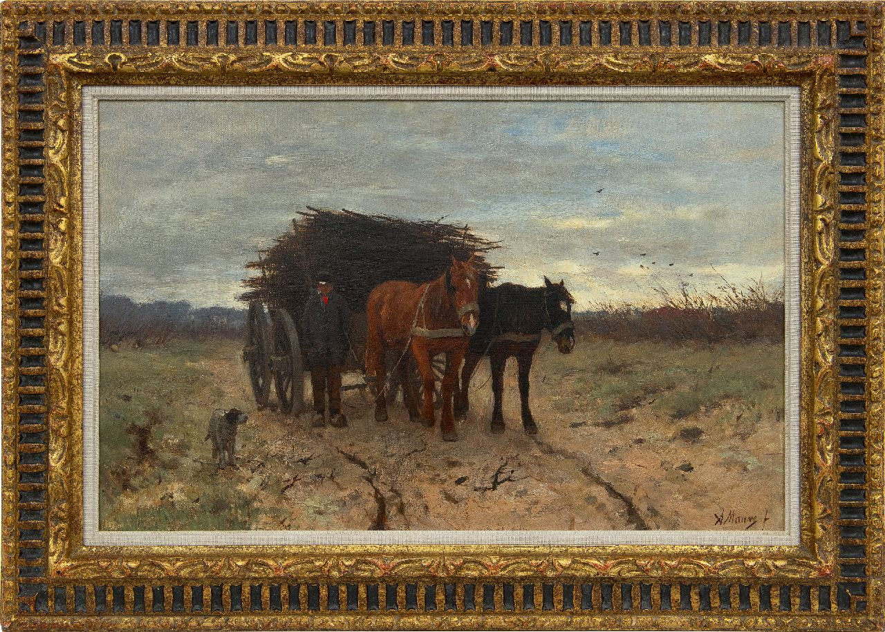 Mauve A.  | Anthonij 'Anton' Mauve | Paintings offered for sale | Wood gatherer with horse-drawn cart, oil on canvas 33.8 x 54.1 cm, signed l.r. and painted 1875-1880