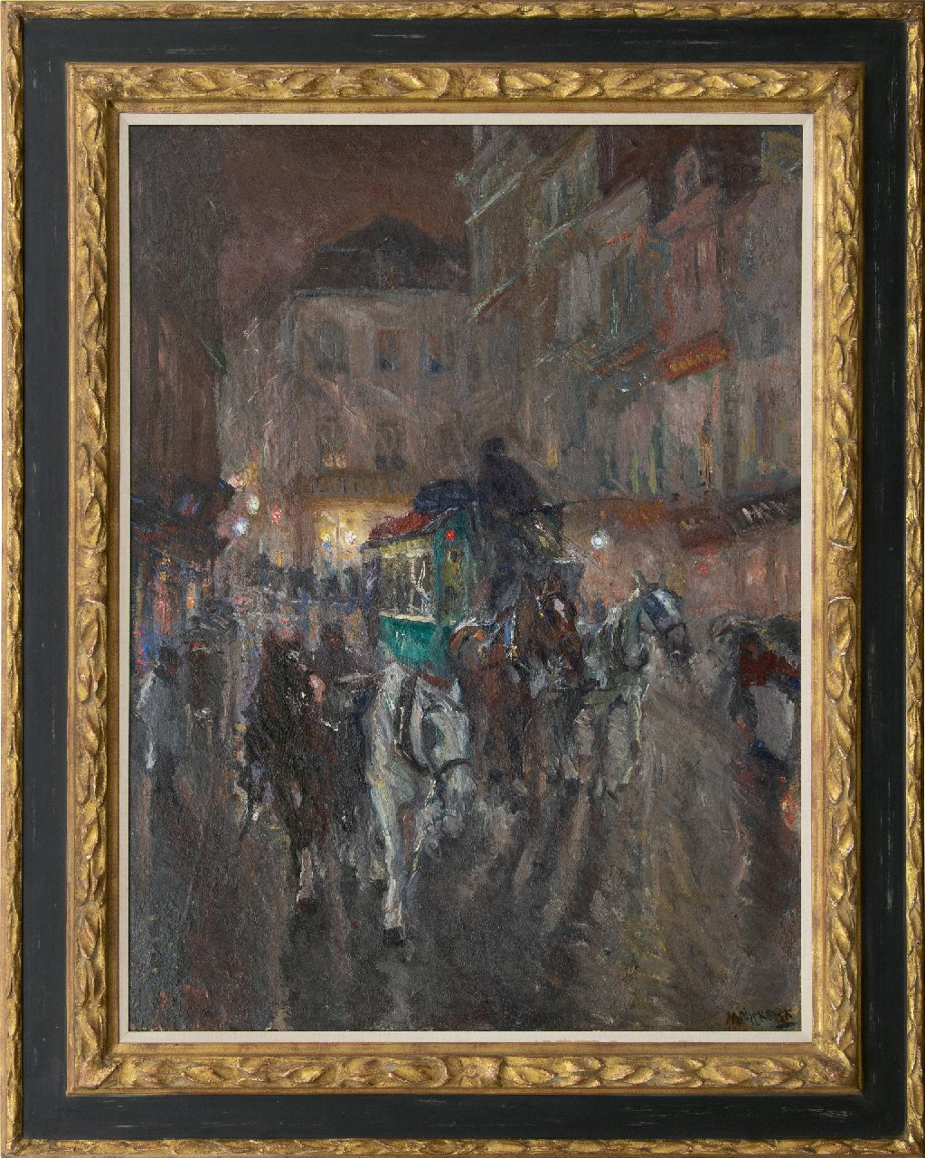 Niekerk M.J.  | 'Maurits' Joseph Niekerk | Paintings offered for sale | An omnibus driving through the city night, oil on canvas 115.5 x 85.3 cm, signed l.r. and dated 1919