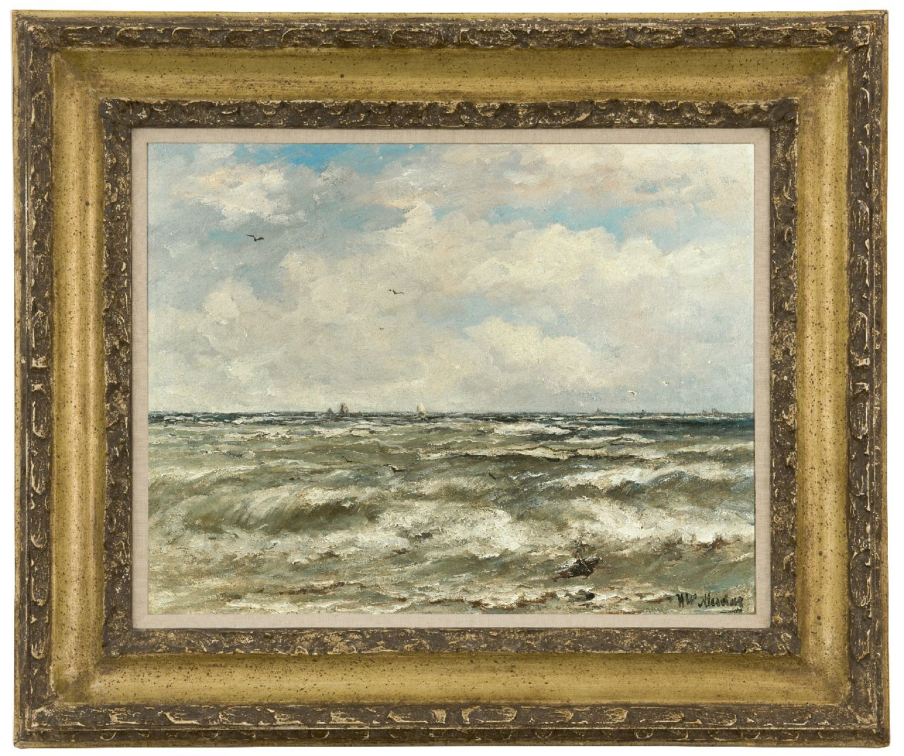 Mesdag H.W.  | Hendrik Willem Mesdag | Paintings offered for sale | At sea, oil on canvas 40.2 x 51.3 cm, signed l.r.