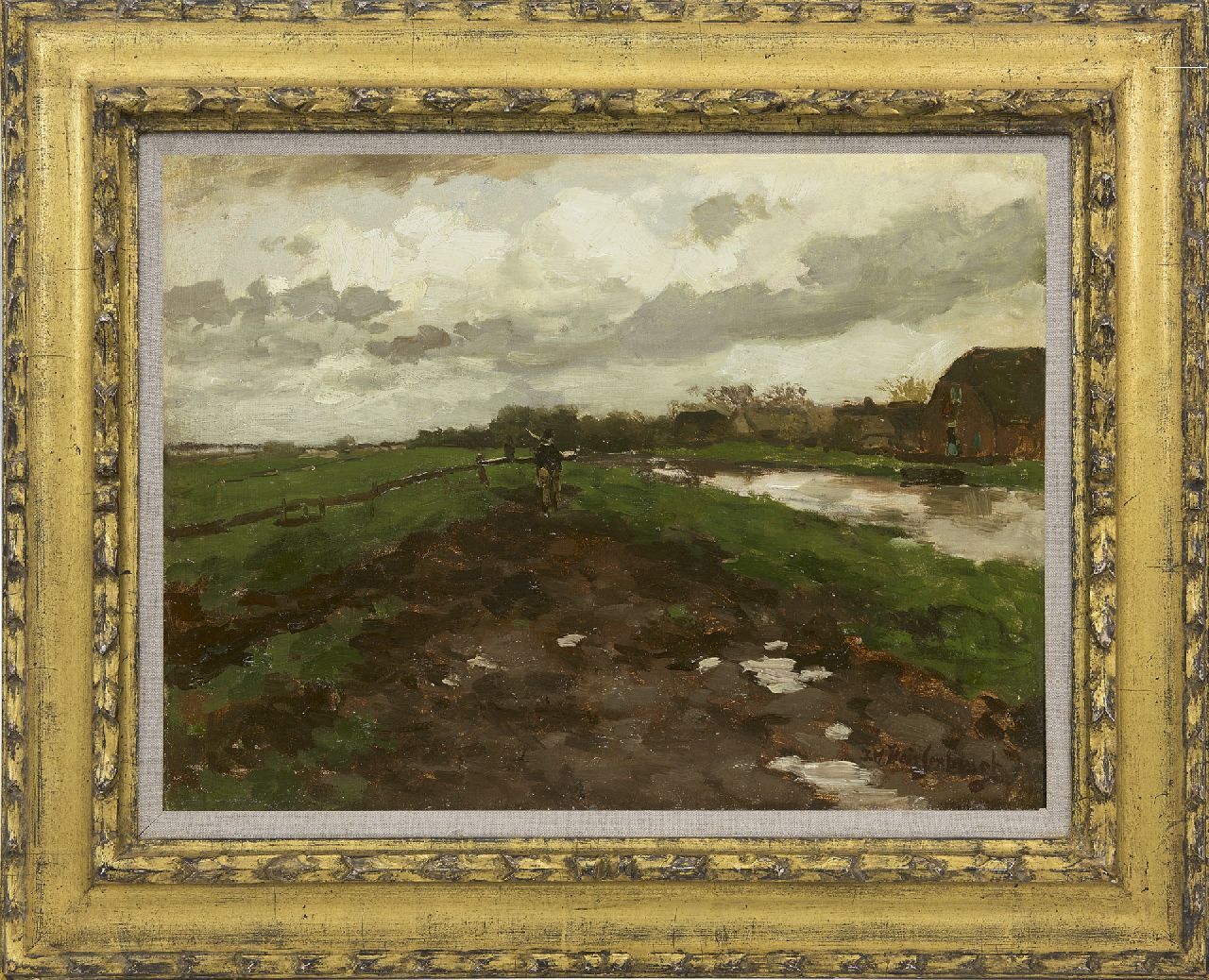 Weissenbruch H.J.  | Hendrik Johannes 'J.H.' Weissenbruch | Paintings offered for sale | Homewards after the rain, oil on canvas laid down on panel 32.9 x 44.1 cm, signed l.r.
