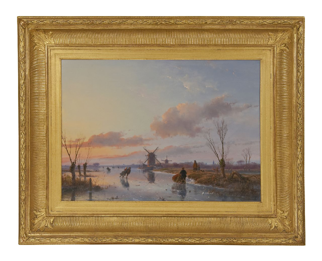 Schelfhout A.  | Andreas Schelfhout, Skaters on a Dutch waterway at sunset, oil on panel 47.1 x 66.3 cm, signed l.r. and dated 1845
