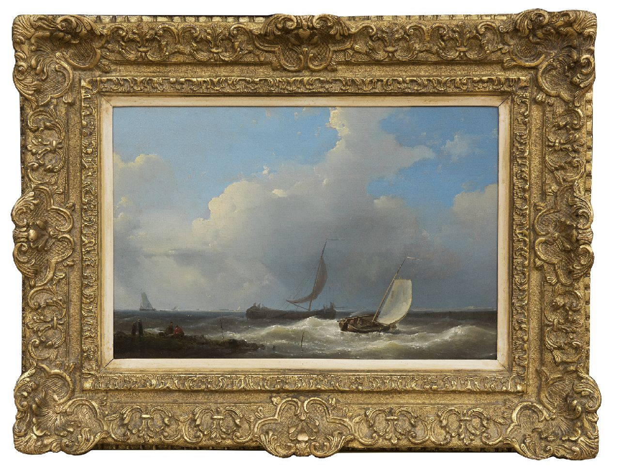 Hulk A.  | Abraham Hulk | Paintings offered for sale | Sailing boats near the coast, oil on panel 21.5 x 32.3 cm, signed l.l. and dated 1849