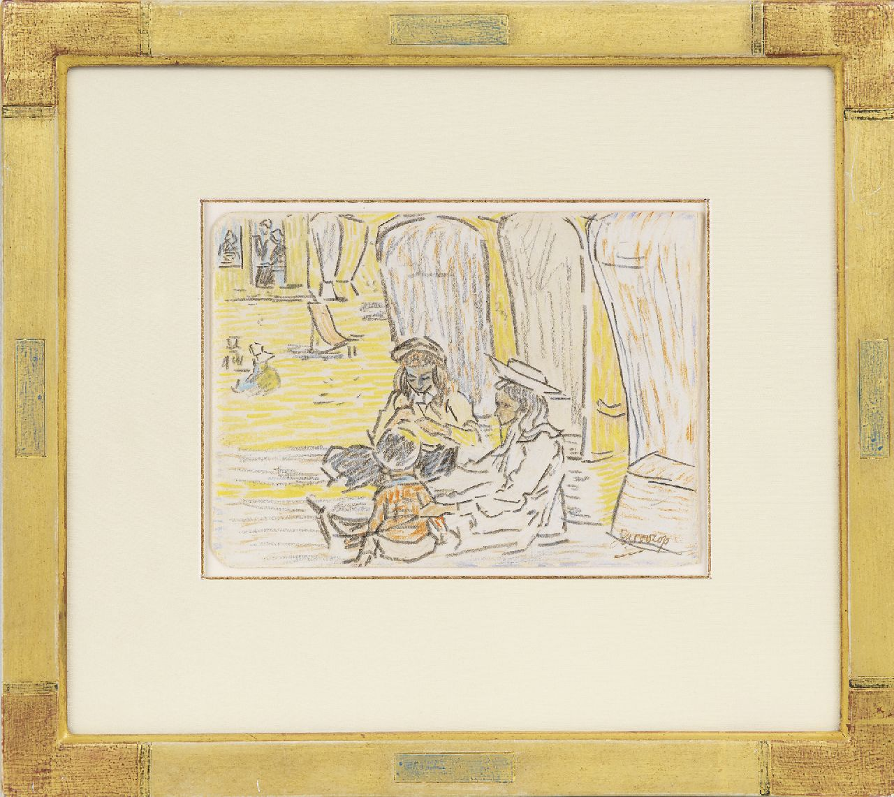 Toorop J.Th.  | Johannes Theodorus 'Jan' Toorop, Children playing on the beach, pencil and coloured chalk on paper 11.5 x 15.6 cm, signed l.r. and painted circa 1907