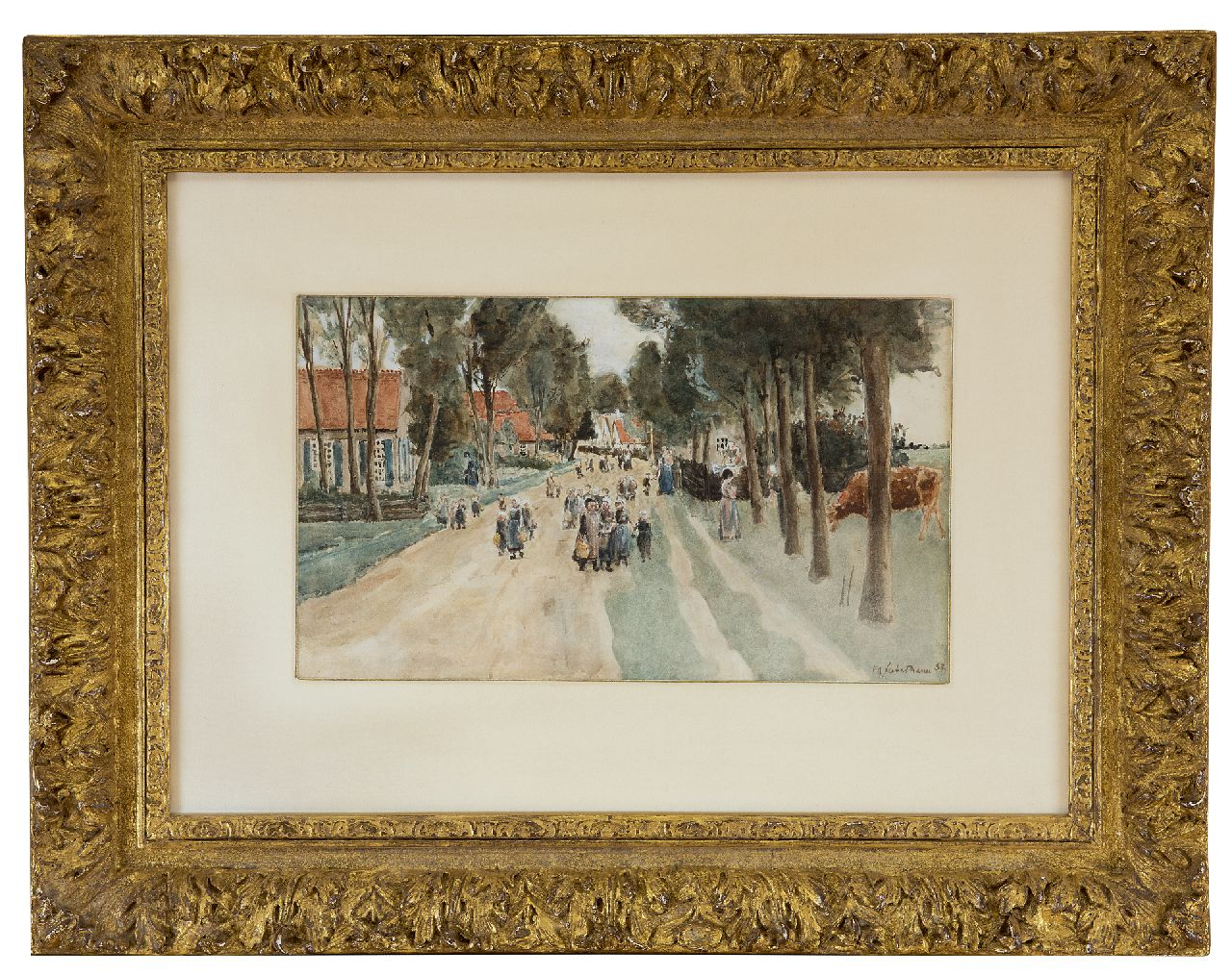 Liebermann M.  | Max Liebermann | Watercolours and drawings offered for sale | A village street in Holland, watercolour on paper 18.3 x 29.7 cm, signed l.r. and dated '82