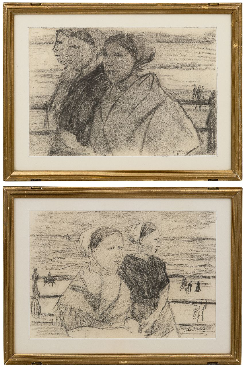 Israels I.L.  | 'Isaac' Lazarus Israels | Watercolours and drawings offered for sale | Scheveningen fisherwomen on the boulevard; reverse: Three fisherwomen, pastel on paper 22.0 x 31.5 cm, signed l.r.