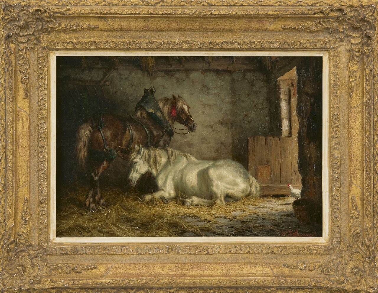 Boogaard W.J.  | Willem Johan Boogaard | Paintings offered for sale | Horses, resting in a stable, oil on panel 27.5 x 40.0 cm, signed l.r.