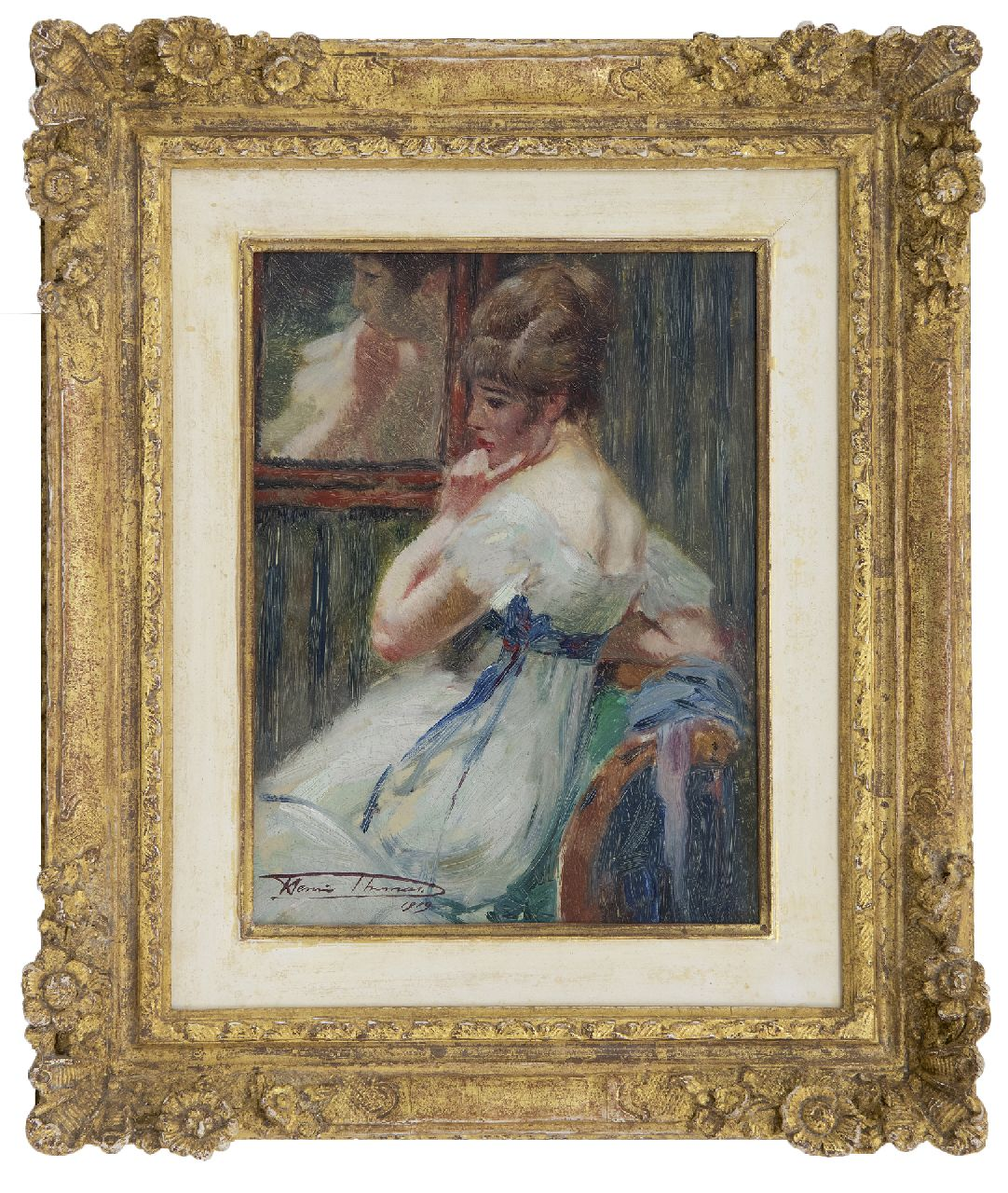Thomas H.J.  | Henri Joseph Thomas | Paintings offered for sale | In a pensive mood, oil on panel 22.7 x 17.2 cm, signed l.l. and painted 1919