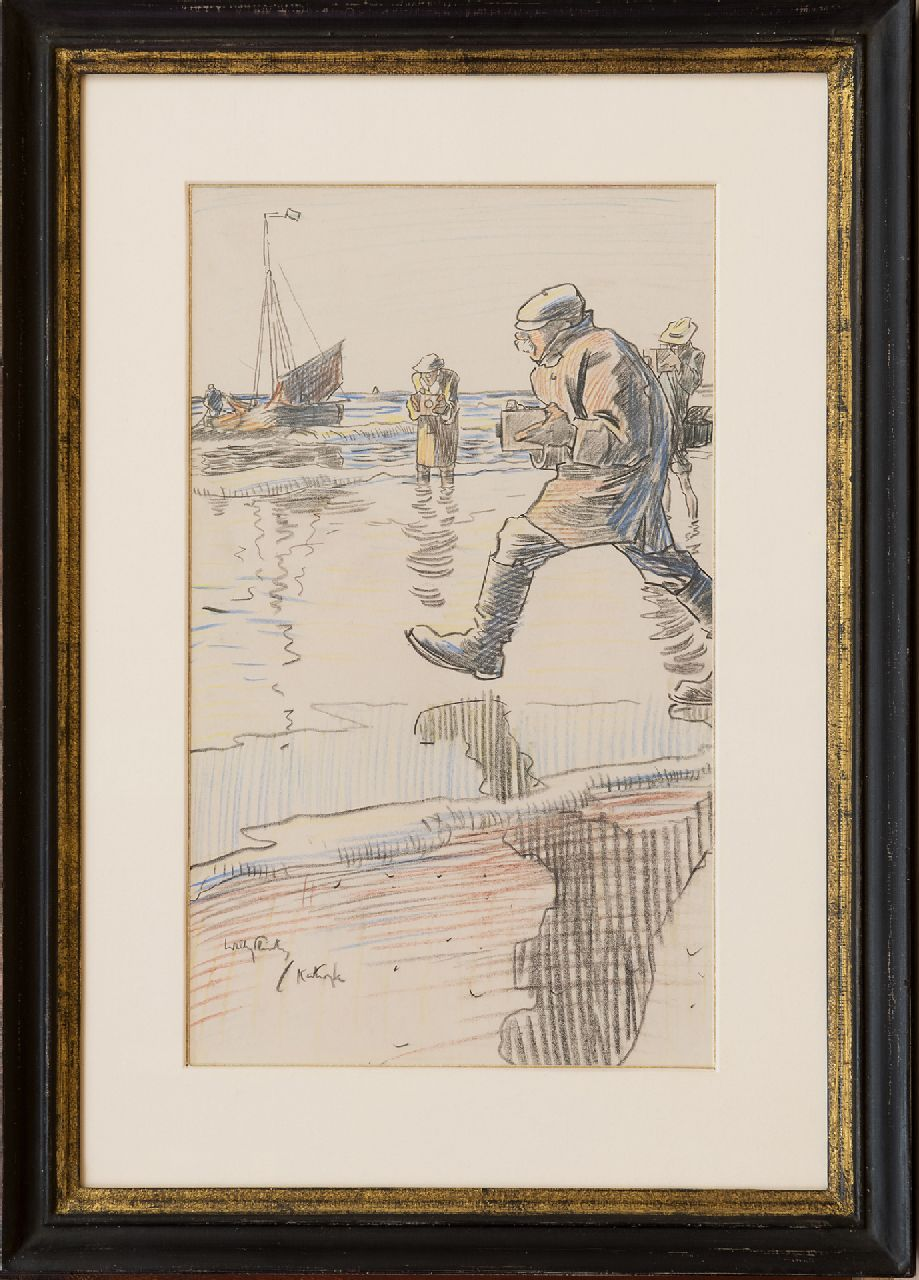 Sluiter J.W.  | Jan Willem 'Willy' Sluiter | Watercolours and drawings offered for sale | Photographers on the beach of Katwijk, chalk on paper 32.7 x 19.7 cm, signed l.l.