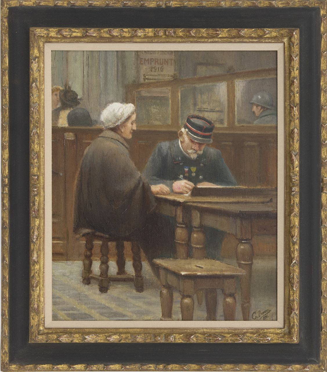Duran G.  | Duran | Paintings offered for sale | At the mortgage bank, oil on panel 43.1 x 36.1 cm, signed l.r. and dated 1910