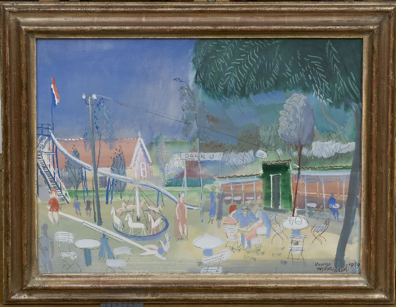 Rozendaal W.J.  | 'Willem' Jacob Rozendaal, A playground, Voorne, gouache on paper 40.0 x 51.2 cm, signed l.r. and dated 'Voorne' 1939