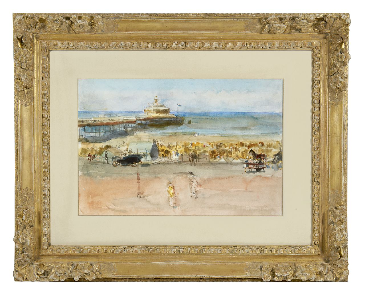 Israels I.L.  | 'Isaac' Lazarus Israels, A sunny day on the Scheveningen boulevard, watercolour and gouache on paper laid down on board 33.7 x 50.6 cm, painted 1915-1919