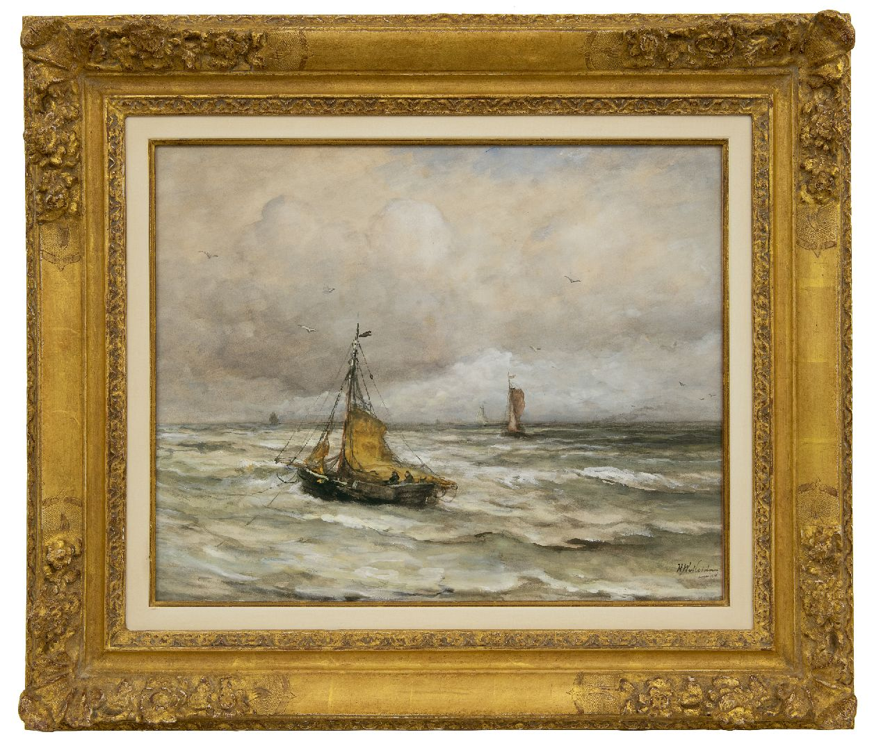 Mesdag H.W.  | Hendrik Willem Mesdag | Watercolours and drawings offered for sale | At anchor in the surf, watercolour and gouache on paper 44.5 x 55.4 cm, signed l.r.
