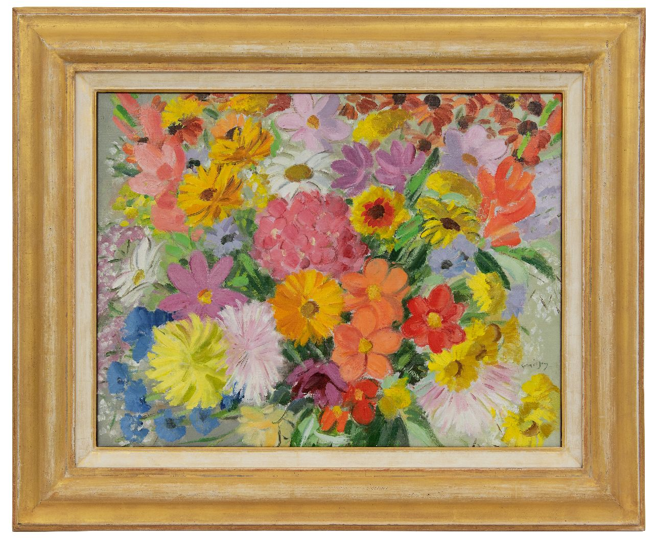 Jong G. de | Gerben 'Germ' de Jong | Paintings offered for sale | Summer flowers, oil on canvas 47.3 x 62.4 cm, signed l.r.