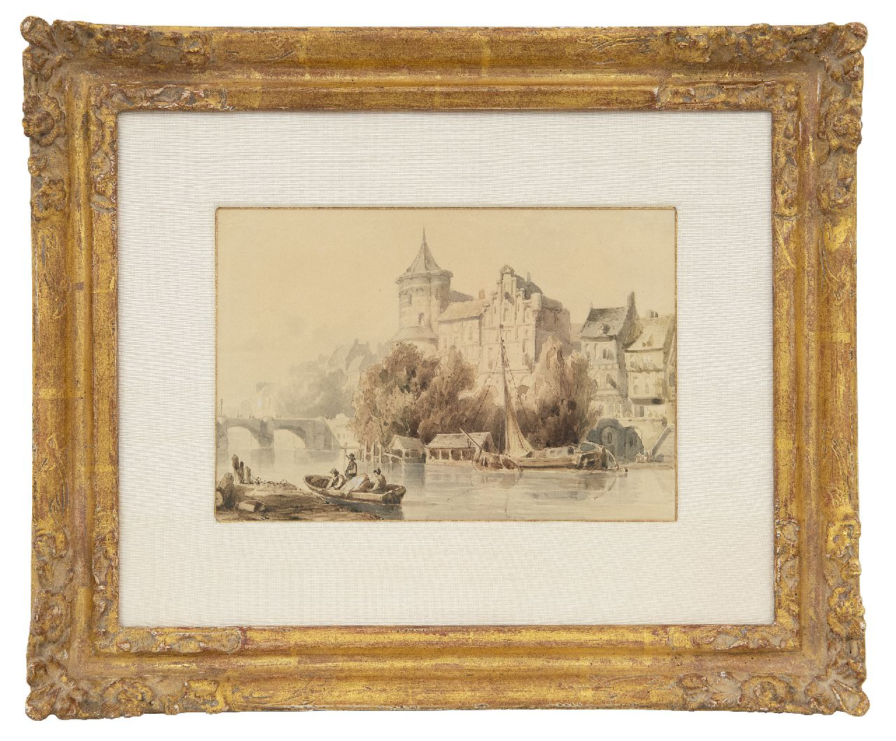 Springer C.  | Cornelis Springer | Watercolours and drawings offered for sale | A busy day along the river, sepia on paper 14.0 x 20.4 cm, signed l.l. with monogram and executed ca. 1840-1845