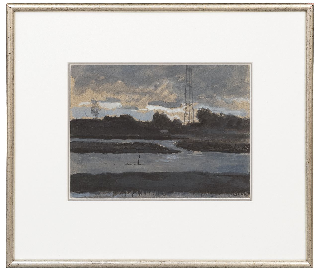 Kamerlingh Onnes H.H.  | 'Harm' Henrick Kamerlingh Onnes | Watercolours and drawings offered for sale | A river landscape, gouache on paper 22.0 x 29.0 cm, signed l.r. with monogram and dated '70