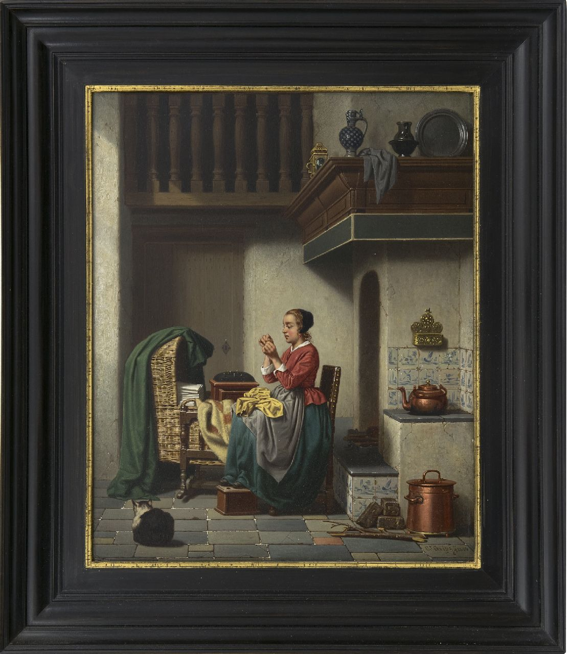 Grips C.J.  | Carel Jozeph Grips | Paintings offered for sale | Mending the garments, oil on panel 36.0 x 29.3 cm, signed l.r. and dated 1864