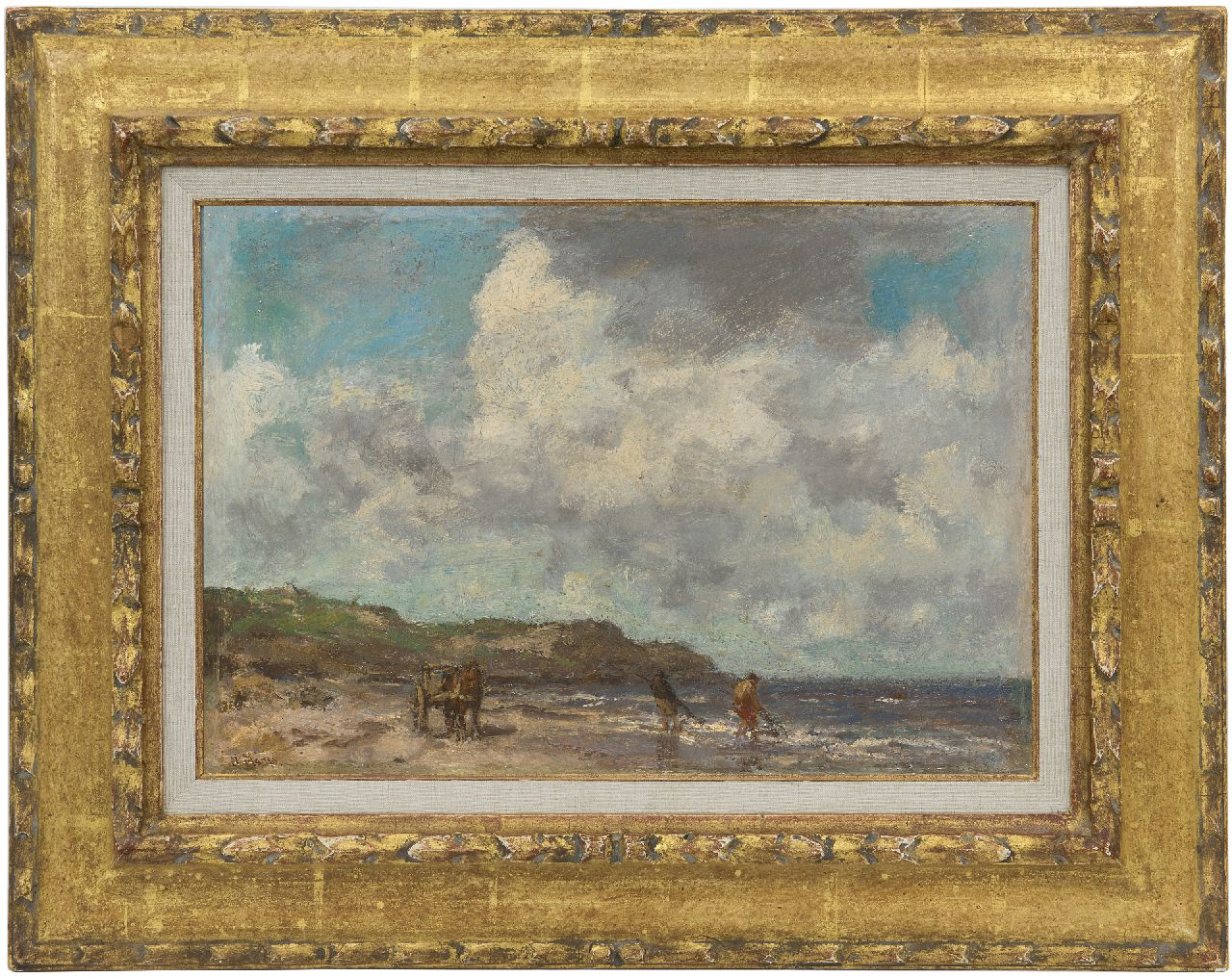 Maris J.H.  | Jacobus Hendricus 'Jacob' Maris | Paintings offered for sale | Shell fishermen in the breakers, oil on panel 26.3 x 37.5 cm, signed l.l.