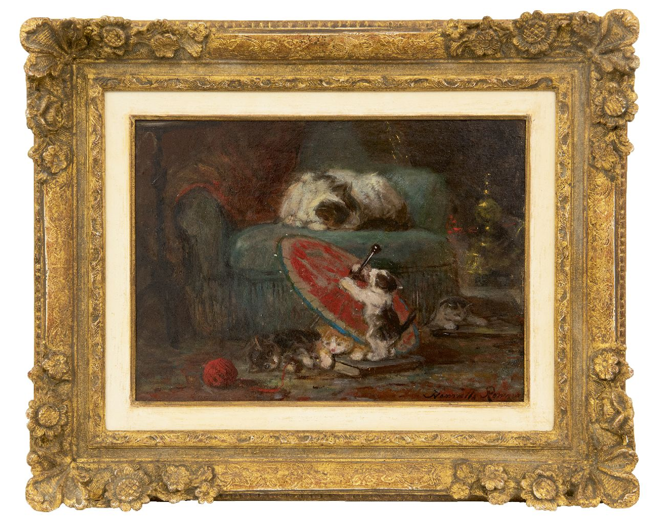 Ronner-Knip H.  | Henriette Ronner-Knip, Kittens playing with a Japanese parasol, oil on paper laid down on panel 27.3 x 36.8 cm, signed l.r. and l.l. and painted ca. 1890