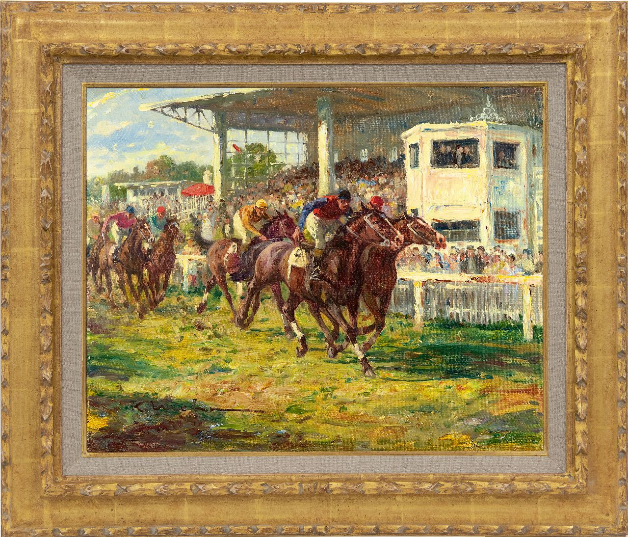 Mohr K.  | Karl Mohr | Paintings offered for sale | At the races at Köln-Weidenpesch, oil on canvas 40.3 x 50.3 cm, signed l.l.