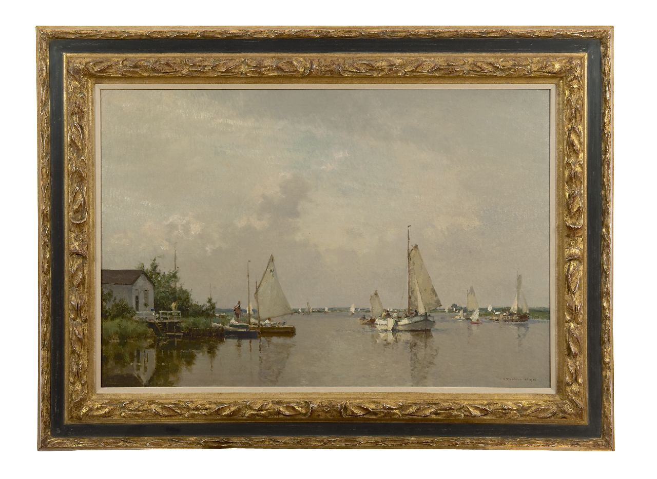Vreedenburgh C.  | Cornelis Vreedenburgh, A view of a lake with a lemsteraak and other sailing vessels, oil on canvas 60.2 x 90.2 cm, signed l.r. and dated 1936