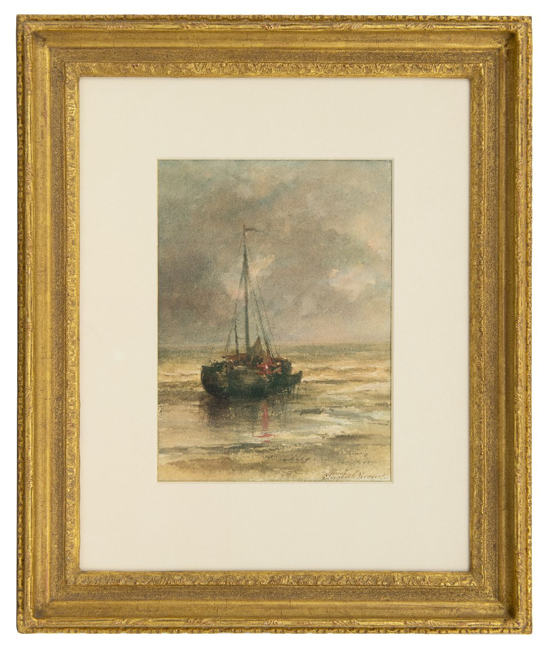 Verwoert M.E.  | Maria 'Elisabeth' Verwoert | Watercolours and drawings offered for sale | Moored fishing boat near the beach, watercolour on paper 29.8 x 22.2 cm, signed l.r.