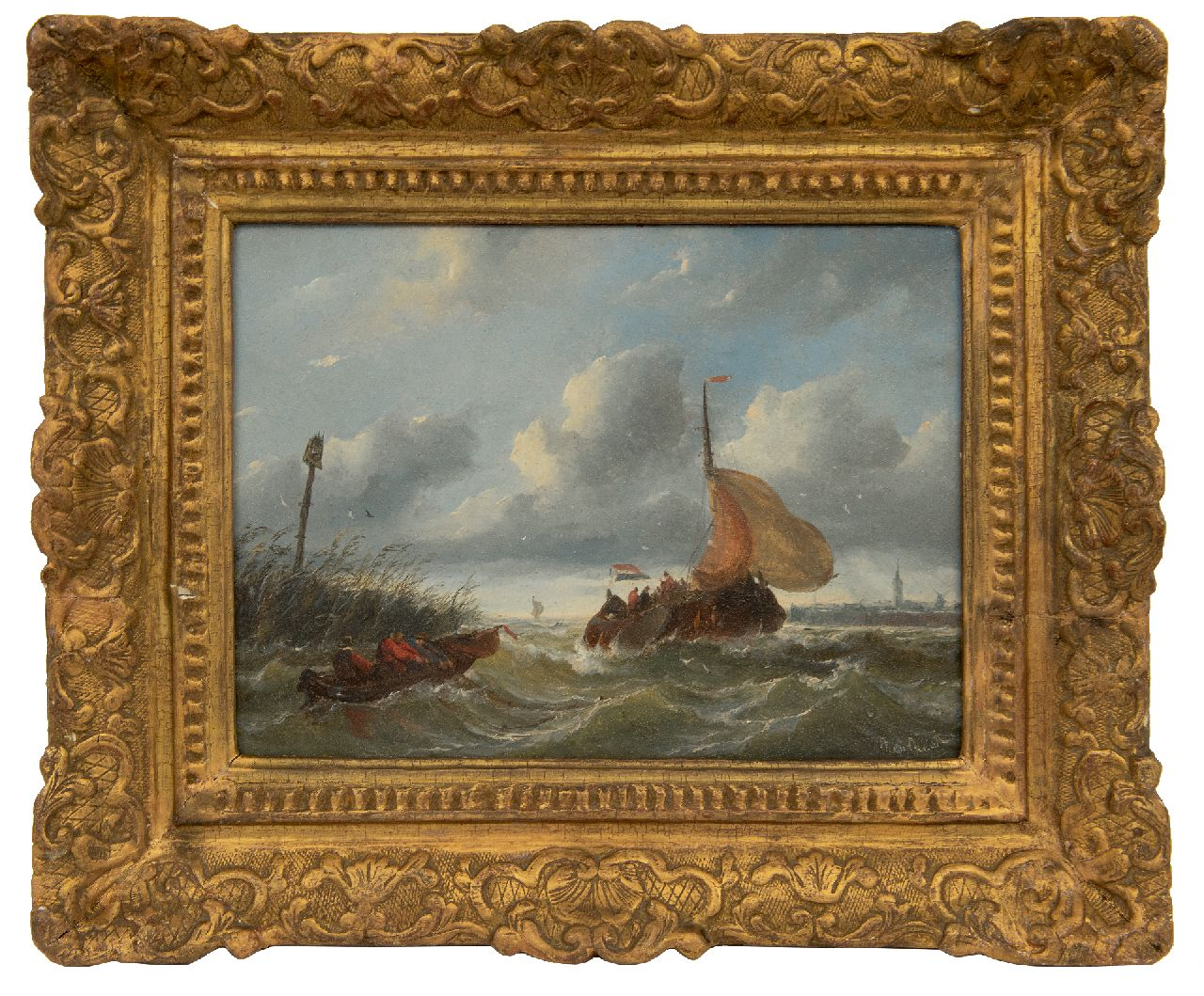 Beest A. van | Albertus van Beest | Paintings offered for sale | A boyer entering a harbour in stormy weather, oil on panel 23.5 x 33.6 cm, signed l.r.