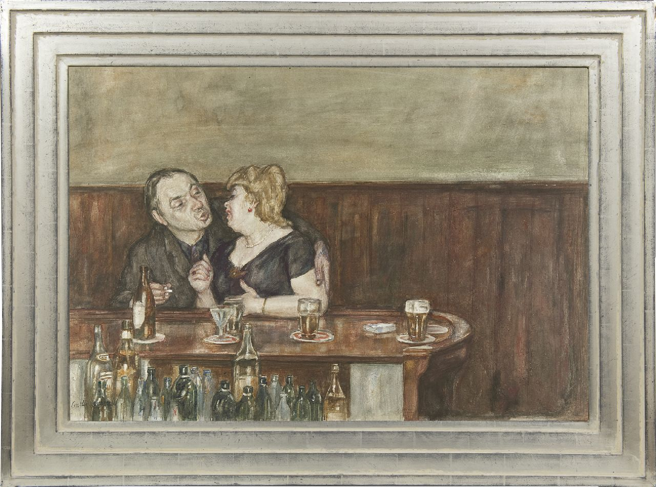 Kemper C.J.  | Charles Jean Kemper | Watercolours and drawings offered for sale | The artist Jan Burgerhout with lover in a café, watercolour on paper 49.6 x 74.2 cm, signed l.l. and dated '68