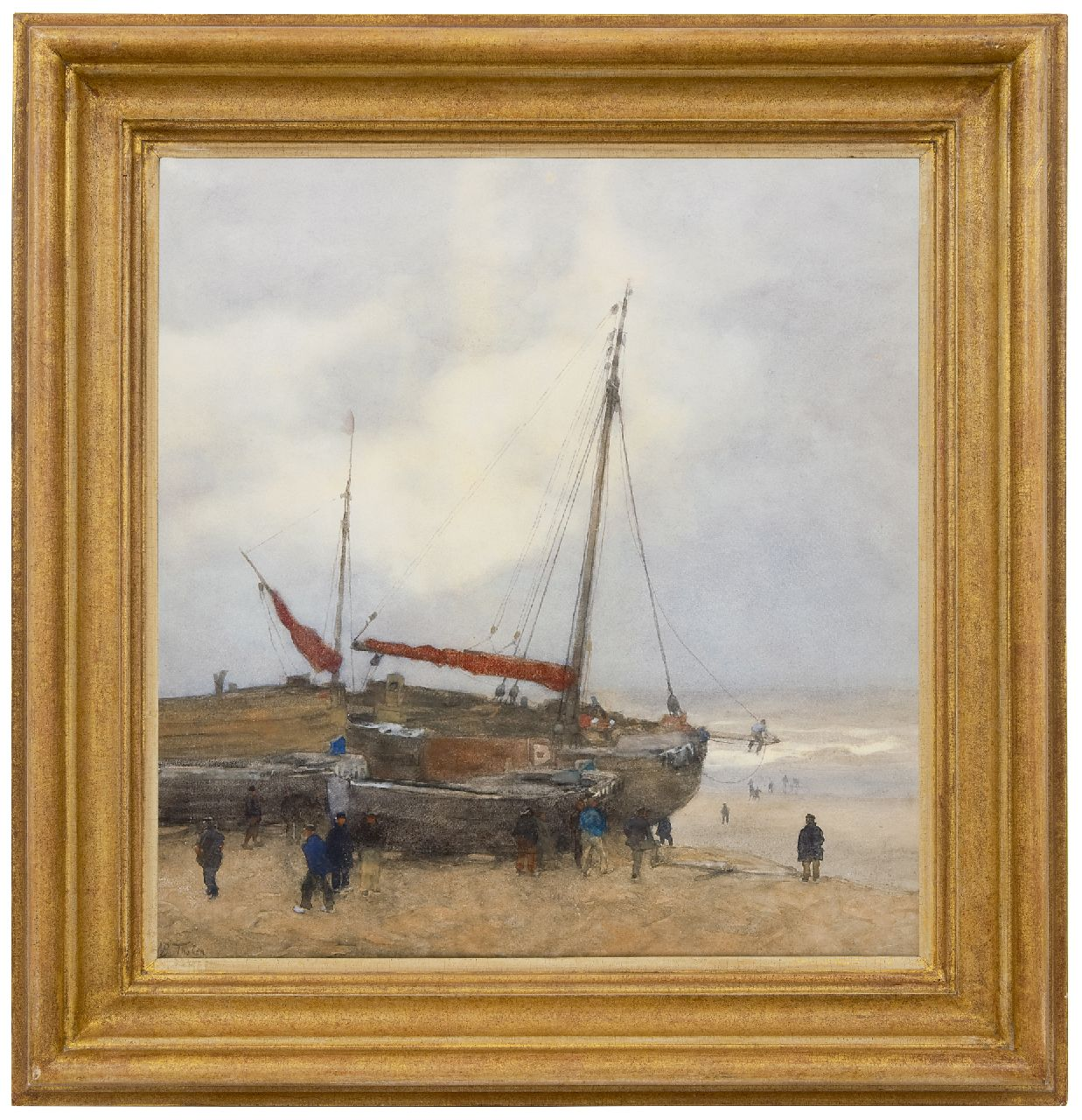 Tholen W.B.  | Willem Bastiaan Tholen | Watercolours and drawings offered for sale | Fishing boats on the beach at Scheveningen, watercolour and gouache on paper 55.0 x 52.0 cm, signed l.l.
