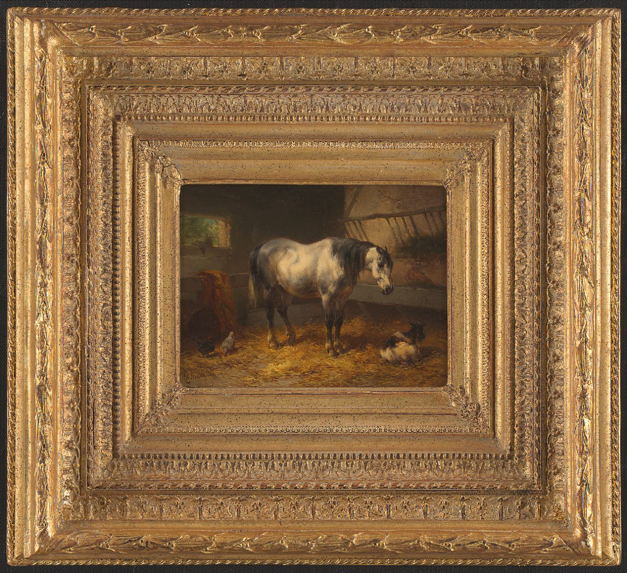Verschuur W.  | Wouterus Verschuur, A resting horse in a stable, oil on panel 15.1 x 20.5 cm, signed l.l.
