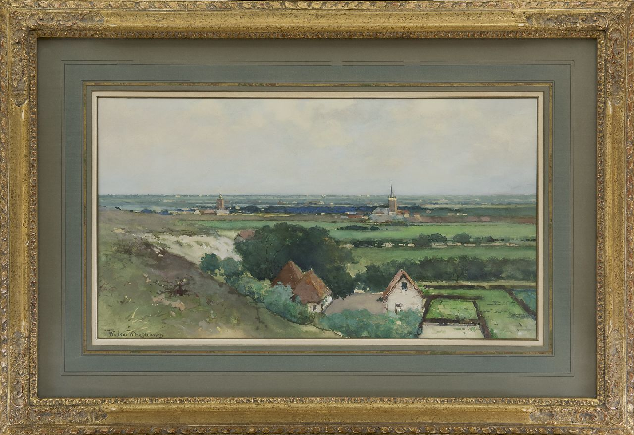 Weissenbruch W.J.  | 'Willem' Johannes Weissenbruch | Watercolours and drawings offered for sale | Overlooking a village from the dune, watercolour on paper 29.7 x 53.7 cm, signed l.l.